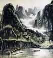 李可染作品集0091,李可染作品集,中国传世名画,群山 山脚 渔船