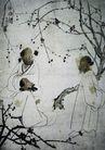 李可染作品集0093,李可染作品集,中国传世名画,树下 枝条 聊天