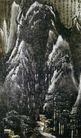 李可染作品集0105,李可染作品集,中国传世名画,山峰 下雪 几户人家