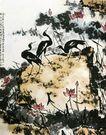 李苦禅作品集0066,李苦禅作品集,中国传世名画,仙鹤 石头 莲叶