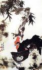 李苦禅作品集0070,李苦禅作品集,中国传世名画,竹叶 石头 母鸡