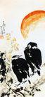 李苦禅作品集0094,李苦禅作品集,中国传世名画,乌鸦 夕阳 日落