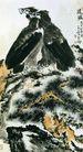 李苦禅作品集0102,李苦禅作品集,中国传世名画,两只老鹰 在松树旁 看前方