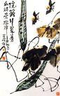 李苦禅作品集0106,李苦禅作品集,中国传世名画,丝瓜 两只小鸟 藤蔓