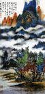 刘海粟作品集0074,刘海粟作品集,中国传世名画,浮云 飘渺 树荫