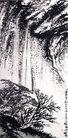 刘海粟作品集0076,刘海粟作品集,中国传世名画,黑崖 低下 灌木