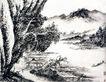 刘海粟作品集0093,刘海粟作品集,中国传世名画,湖面 小舟 树木