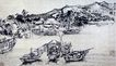 刘海粟作品集0108,刘海粟作品集,中国传世名画,河面 几只小船 山边