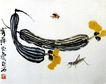 齐白石作品集0095,齐白石作品集,中国传世名画,丝瓜 蜜蜂 花朵