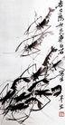 齐白石作品集0104,齐白石作品集,中国传世名画,虾子 黑色 一堆