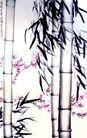 徐悲鸿作品集0101,徐悲鸿作品集,中国传世名画,竹子 两根 桃花