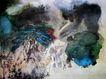 张大千作品集0019,张大千作品集,中国传世名画,水流 淡浓 衬托