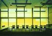斯洛文尼亚0024,斯洛文尼亚,世界建筑设计,环体会议桌 桔黄色背景 两椅一组