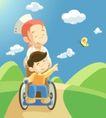 医务人员0061,医务人员,健康医疗,轮椅 伤残人员 蝴蝶
