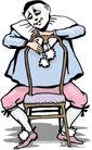 杂技0012,杂技,漫画卡通,坐椅子上