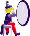 杂技0022,杂技,漫画卡通,照镜子