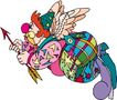杂技0032,杂技,漫画卡通,小丑 拿着弓箭