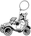 杂技0049,杂技,漫画卡通,小车子 一个气球
