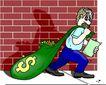 货币0019,货币,金融风暴,钱袋 砖墙