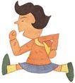 儿童0067,儿童,插画,跑步