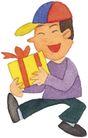 儿童0074,儿童,插画,黄色礼盒 收到礼物
