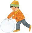 儿童0077,儿童,插画,滚雪球 玩雪