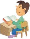 儿童0079,儿童,插画,课桌椅 看书的学生