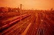 现代火车0106,现代火车,工业,火车站 多条铁路线 铁架电线