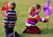 全家福0021,全家福,家庭情侣,孩子 风车 玩耍