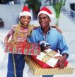 节日活动0011,节日活动,生活方式,圣诞节 礼物 父子的庆祝 黑色人种 家庭照