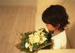 儿童圣诞0193,儿童圣诞,儿童教育,鲜花一束 女童 木地板