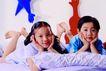 儿童游戏0021,儿童游戏,儿童教育,朋友 床铺 玩耍