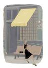 逛街购物0007,逛街购物,标题插画,坐下 木椅 皮包 黑衣 遮阳