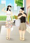 减肥瘦身0015,减肥瘦身,标题插画,姐妹 胖瘦 对比 面包 食品