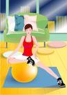 减肥瘦身0024,减肥瘦身,标题插画,白领 气球 瑜伽