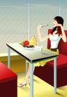 减肥瘦身0025,减肥瘦身,标题插画,丽人 餐厅 就餐