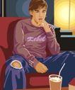 男女名媛0023,男女名媛,标题插画,牛仔裤 饮料 沙发