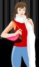 时尚女性0009,时尚女性,标题插画,白围巾 手包 红上衣 蓝裤子 打理