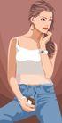 时尚女性0024,时尚女性,标题插画,美女 牛仔裤 青春