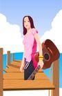 时尚女性0029,时尚女性,标题插画,