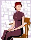 时尚女性0037,时尚女性,标题插画,淑女 椅子 端坐