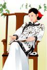 时尚女性0039,时尚女性,标题插画,富贵人家 古装 绿叶