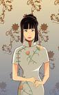 时尚女性0041,时尚女性,标题插画,旗袍女子