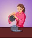 时尚女性0043,时尚女性,标题插画,倒茶