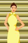 时尚女性0049,时尚女性,标题插画,修身旗袍