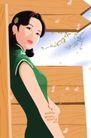 时尚女性0052,时尚女性,标题插画,东方美 温柔女性 绿色旗袍