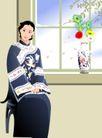 时尚女性0053,时尚女性,标题插画,大家闺秀 端坐 花瓶
