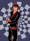 时尚女性0055,时尚女性,标题插画,动感背景 武师 拿剑