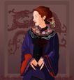 时尚女性0056,时尚女性,标题插画,古典女性 尖尖指甲 发簪