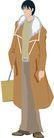 流行时男0012,流行时男,标题插画,冬季 暖和 灰色 大衣 站立